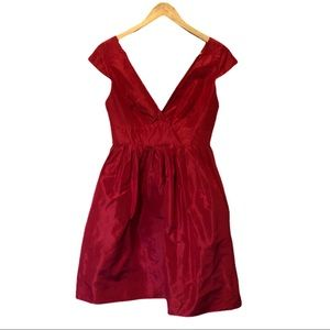 J. Crew V-Neck Fit and Flare Red Dress